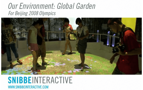 Video of the Snibbe Interactive installation at the Beijing 2008 Olympics