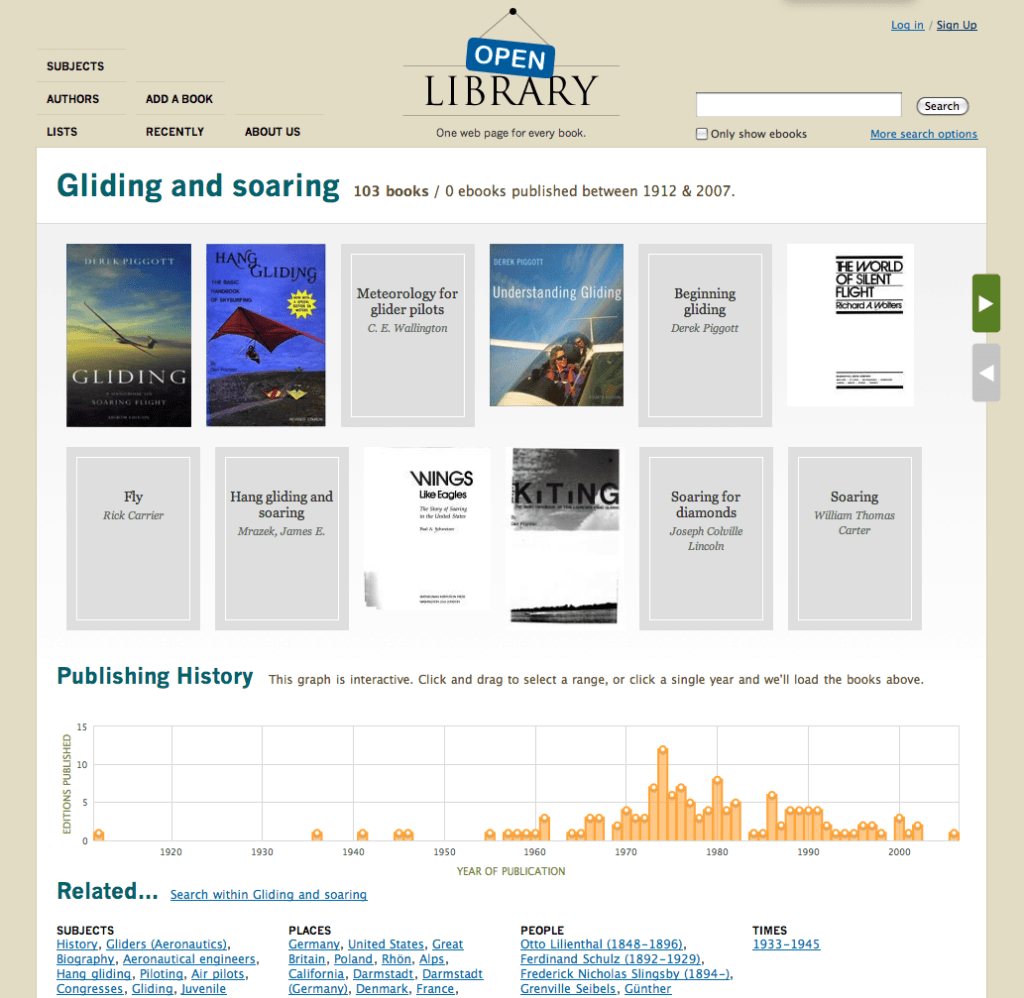 Open Library subject page for Gliding and Soaring